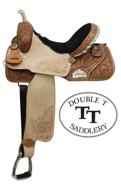"14"", 15"", 16"" Double T Barrel Style Saddle with Floral Embossed Suede Seat. Full QH Bars"