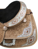 "16"" Double T Show saddle with silver and copper plates."