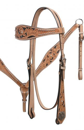 "14"", 15"", 16"" Double T Barrel Style Saddle Set with Floral Tooling and Conchos."