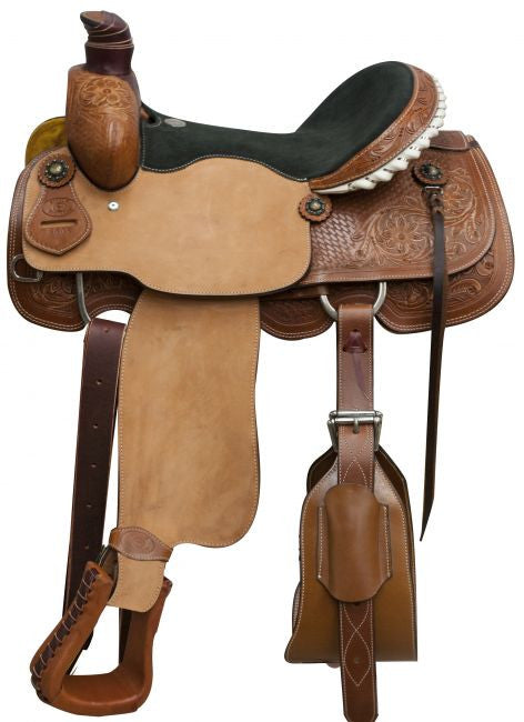 "16"" Circle S roper saddle with floral and basketweave tooling."
