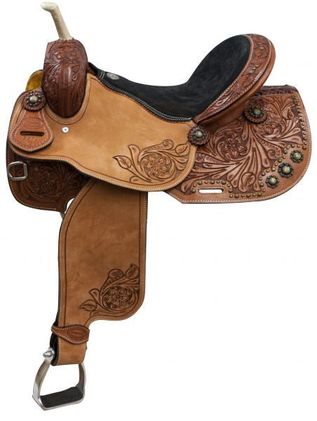 "15"", 16"" Showman ® Argentina Cow Leather Barrel Style Saddle"