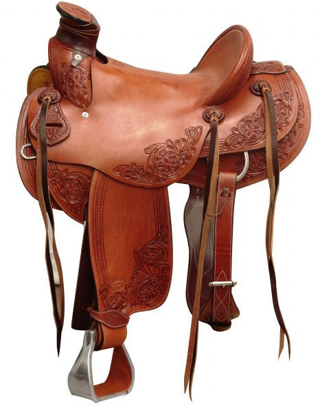 "15"", 16""  Showman ® Argentina cow leather hard seat roper saddle."