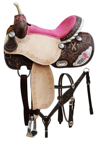 "14,""15"", 16"" Cowgirl Tough"" pink ribbon barrel saddle set."