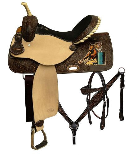 "14"",15"",16"" Circle S Barrel saddle set with painted barrel racer on skirt."