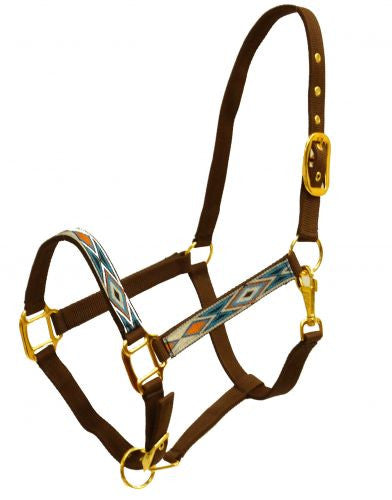 Full Size adjustable nylon halter with brass hardware and embroidred diamond design