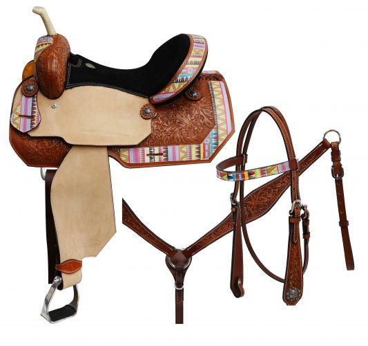 "14"",15"",16"" Circle S Barrel saddle set with multi color Aztec print overlay."