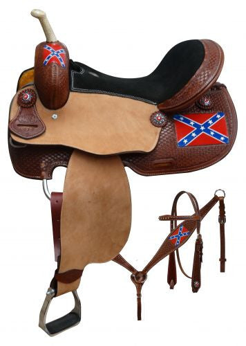 "15"", 16"" Double T  Rebel flag barrel saddle set."