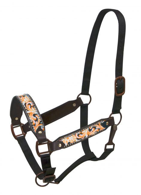 Showman ® FULL SIZE Painted filigree belt halter with antique style hardware