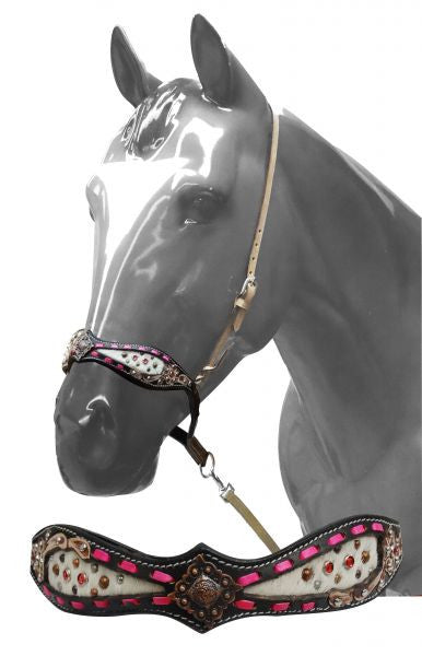 Showman ® Adjustable tie down cowhide inlay accented with pink buck stitching.