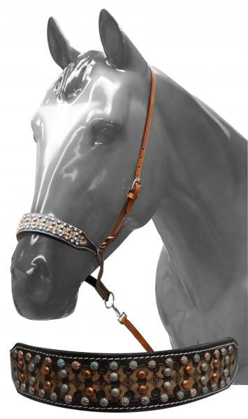 Showman ® Adjustable studded noseband with tie down strap.