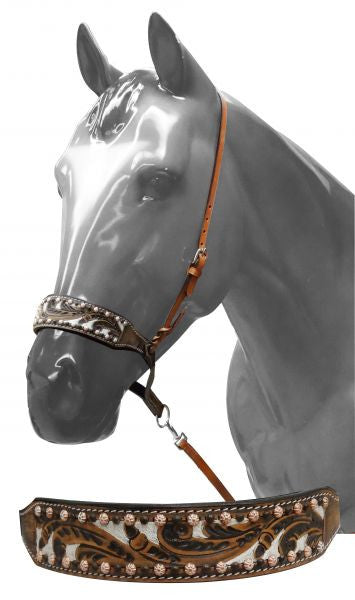 Showman ® Adjustable painted tooled noseband with tie down strap.