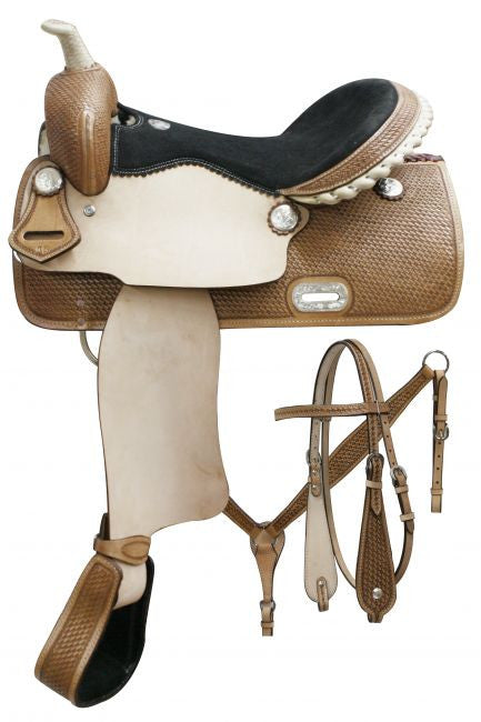 "15"", 16"" Double T Barrel saddle set with basket weave tooling."