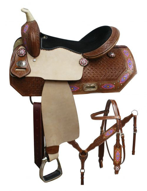 "14"",15"",16"" Double T Barrel saddle set with painted Navajo diamond."