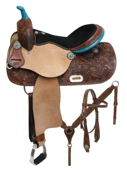 "14"", 15"", 16"" Double T  barrel style saddle set with teal trim."