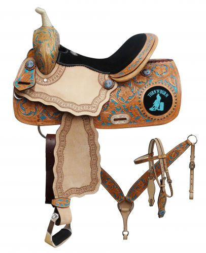 "14"", 15"", 16"" Double T barrel saddle set with "" Turn 'N' Burn"" design."