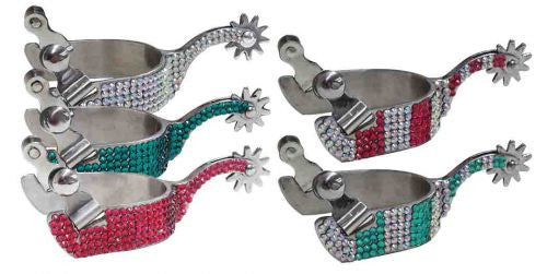 Showman ®  Ladies size bling rhinestone spurs.