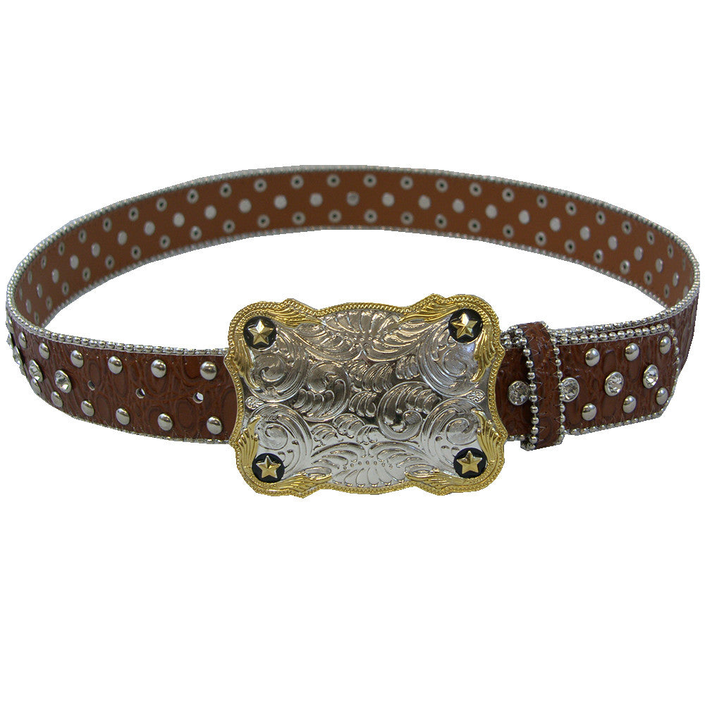 WOW Brown Leather Belt with Crystals