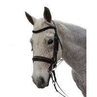 Exselle Elite Plain Rsd Padded Rolled Lther Dbl Bridle X Brow BK
