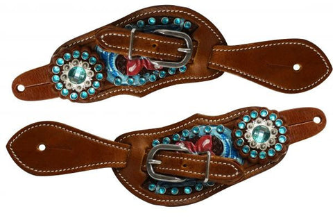 """   Showman ® Youth size floral tooled spur straps with metallic paint and aqua crystals.  """