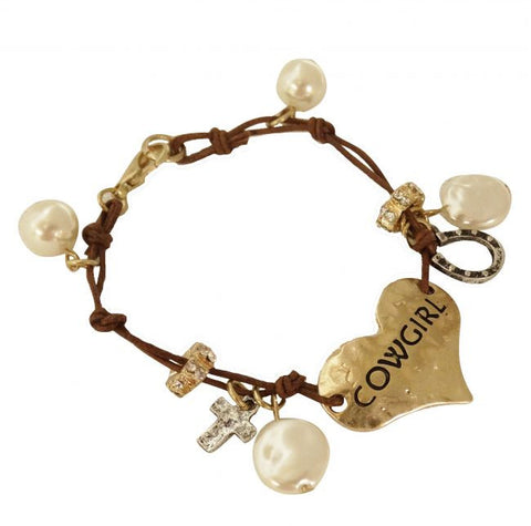 """ Cowgirl"" gold heart bracelet with pearl charms."