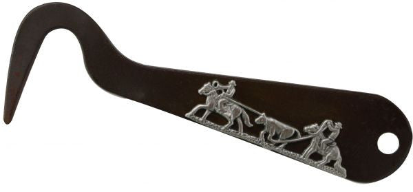 "Team roping brown steel silver engraved hoof pick. Measures 6"" long"