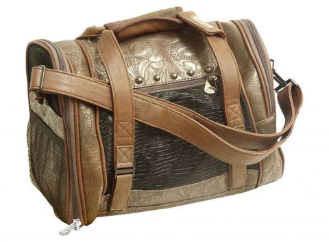 Brown floral embossed PU leather pet carrier.