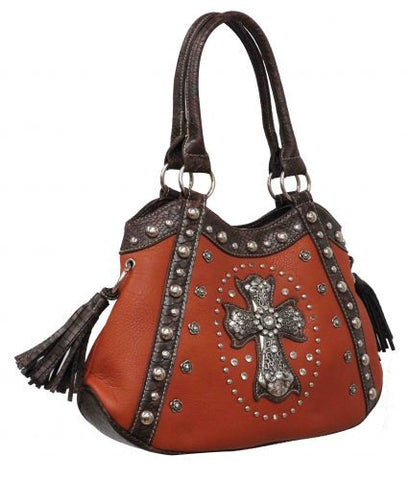 Camel colored PU leather handbag with brown snake print leather trim and large crystal rhinestone cross.