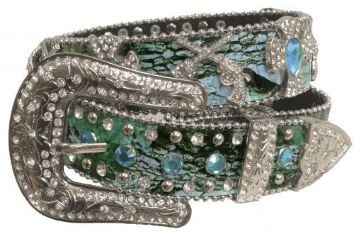 Showman Couture ™  Western style bling blue camo belt with removable buckle.