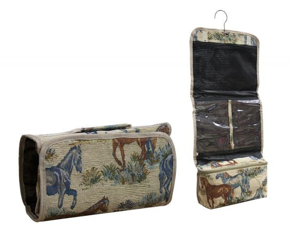 Horse embroidered folding accessory case.