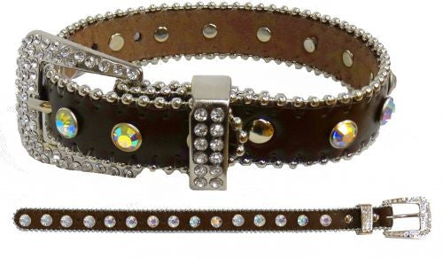 Showman Couture ™ Brown leather fashion dog collar with iridescent crystal rhinestones.