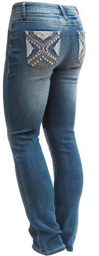 D'Mode Denim jegging style jeans with embroidered cross. Slim fit straight leg.
