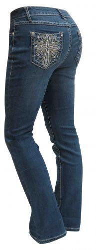 D'Mode Denim jeans with embroidered cross.