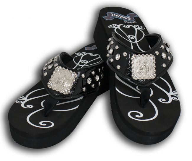 8f810b97d4eb8 Showman Couture™ Ladies western bling flip flops with barrel racer con –  Dark Horse Tack Company