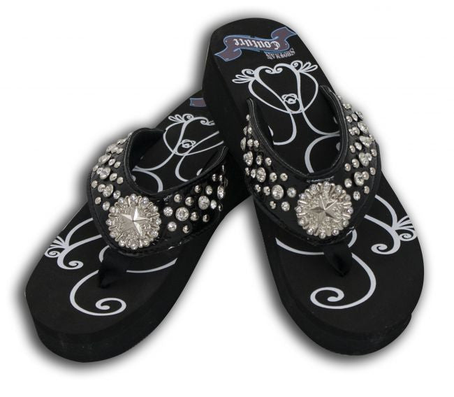 Showman Couture™ Ladies western bling flip flops with crystal star concho.