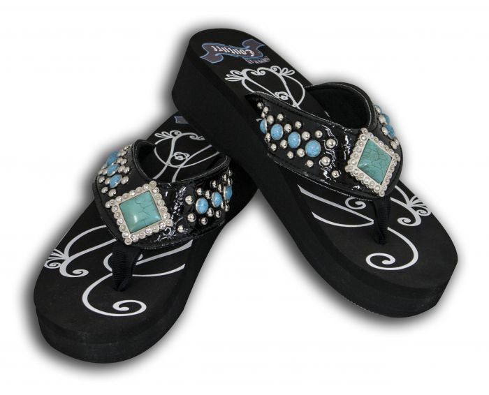 Showman Couture™ Ladies western bling flip flops with turquoise stones.