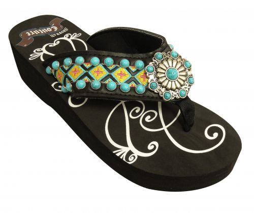 Showman Couture ™ Ladies western flip flops with Southwest embroidery with turquoise stone concho and studs.