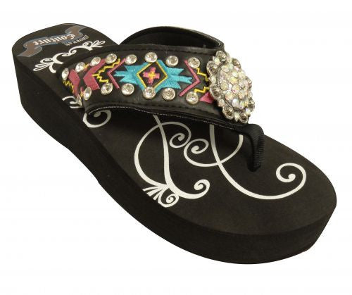 Showman Couture ™ Ladies western flip flops with Southwest embroidery with iridescent crystal rhinstone rosette concho and studs.