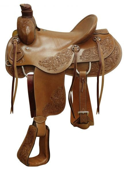 "16"" Circle S Hardseat roper saddle with floral tooling."
