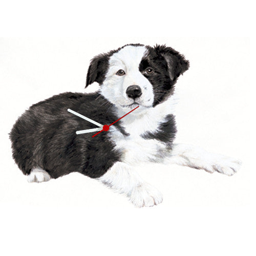 Border Collie Puppy Shaped Clock