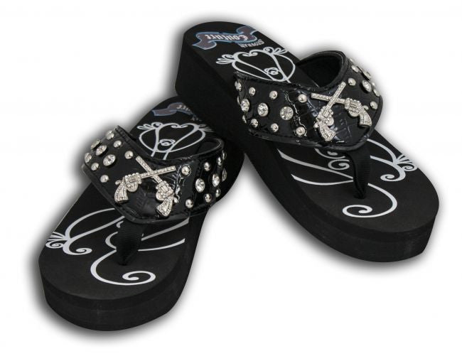 Showman Couture™ Ladies Western bling flip flops with crystal inlay crossed guns conchos.