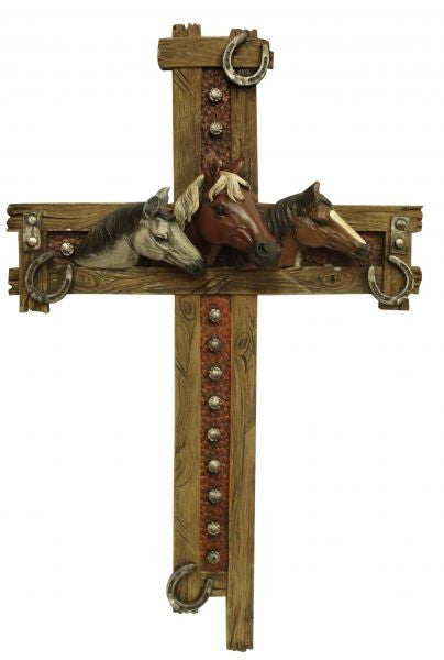 "Montana West ® 17.5"" x 11.5"" Horse cross with faux wood trim"