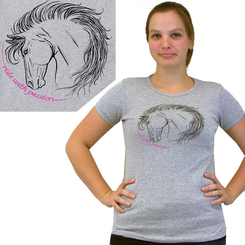 2kGrey Ladies Ride with Passion Tee Shirt Grey