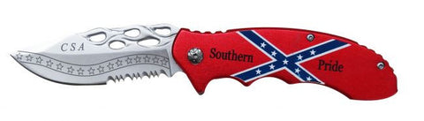 """Southern Pride""  Rebel flag tactical rescue spring assistant knife with flame engraved blade"