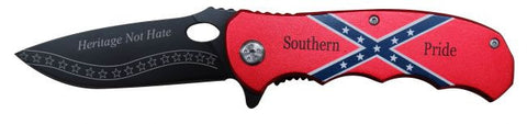 """Southern Pride""  Rebel flag tactical rescue spring assistant knife"