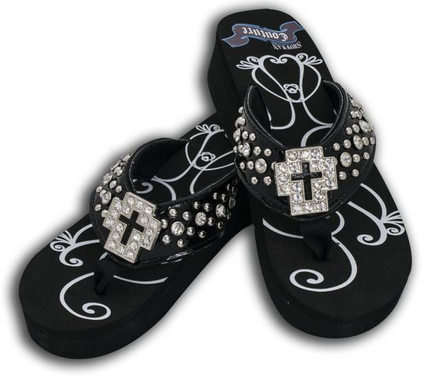 Showman Couture™ Ladies western bling flip flops with crystal cross concho.