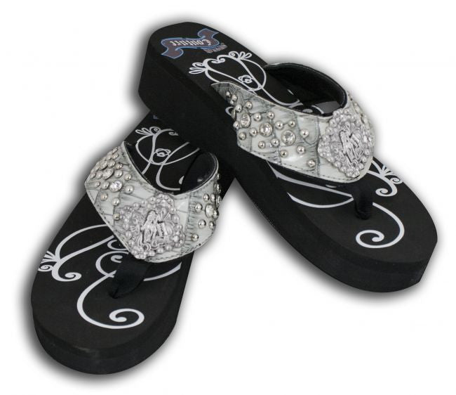 Showman Couture™ Ladies western bling flip flops with barrel racer concho.