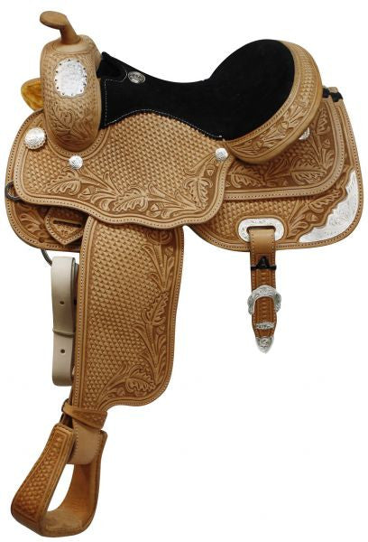 "Circle S 13"", 14"", 15"", 16"" Fully tooled Circle S show saddle with full Quarter Horse bars"