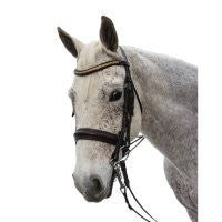 Exselle Elite Plain Rsd Padded Rolled Lther Dbl Bridle X Brow BN