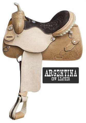 "14"", 15"", 16"" Double T  Argentina cow leather barrel style saddle with basket weave tooling and knife pocket."