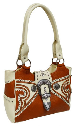 Camel colored PU leather handbag with cream PU leather trim and large crystal rhinestone buckle.